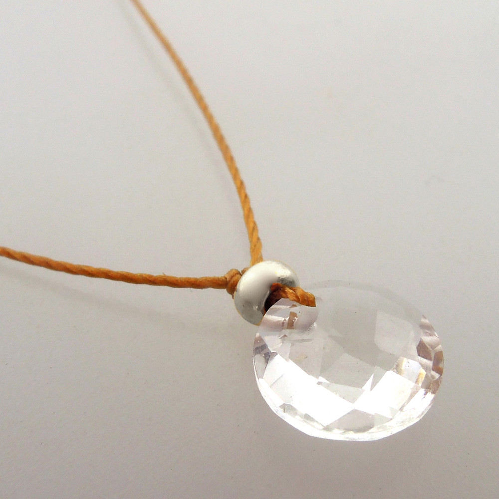 Clear Quartz Cutie Pie Necklace with  sterling accents