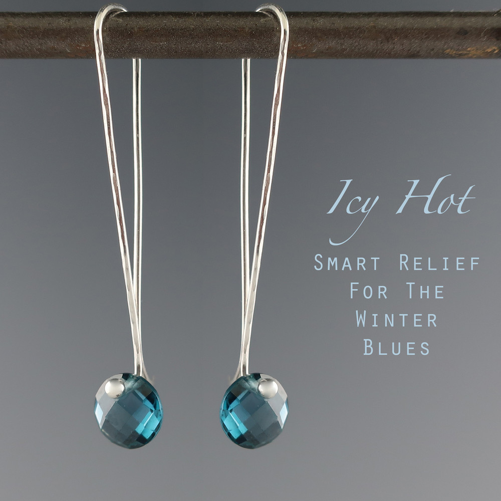 "London Blue Topaz solo Cutie pie"" faceted coin cut on our signature handmade Argentium Sterling ear wire, just under 2"" from top to bottom"