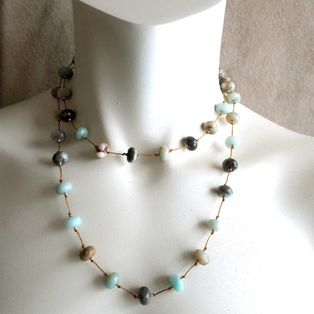 """Alternate doubled up version showing  36"""" Stepping Stones Necklace for size reference only"""