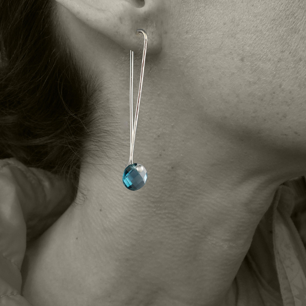 "solo Cutie pie"" faceted coin cut on our signature handmade Argentium Sterling ear wire, just under 2"" from top to bottom"