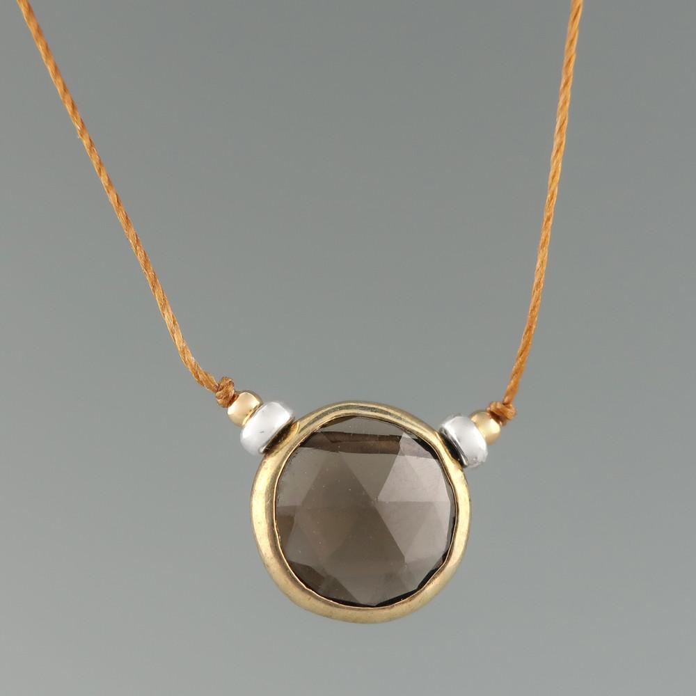 rustica coin smoky quartz vermeil