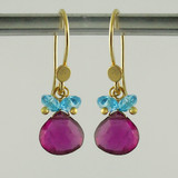 splish splash - pink tourmaline/swiss blue topaz18kt ER teardrop 2ct