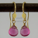 gem drop - pink tourmaline 18kt ER  2ct