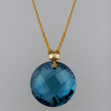 solo luxe coin - london blue topaz 12mm front drill