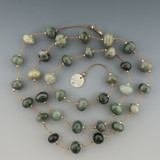 stepping stone - 10mm moss agate smooth nugget 36 inches