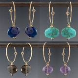 Mingle Mini Slice Hoop Earrings - multiple gem options