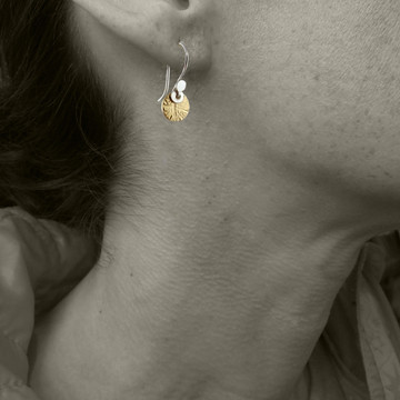 Model pic for size reference only - zigzag variation in 14kt gold fill with sterling earwires