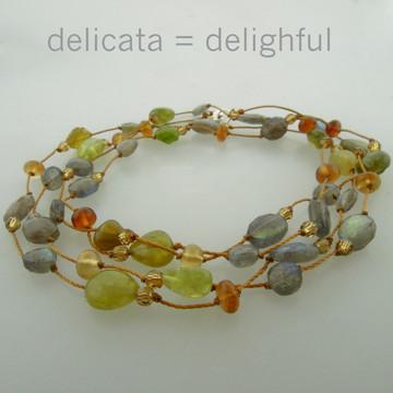 """delicata - labradorite/green garnet mix 34"""""""