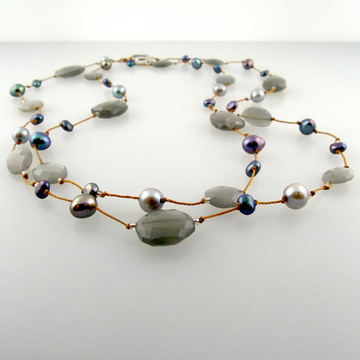 delicata - gray moonstone pearl mix 36""