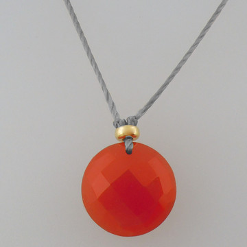 solo luxe coin - carnelian 12mm front drill