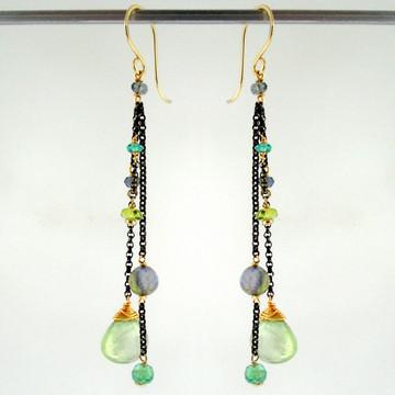 dancing queen - tango prehnite OX earrings