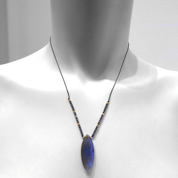 Marquis cut labradorite - with micro faceted hematite on life size neck model