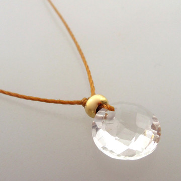 Clear Quartz Cutie Pie Necklace with 14kt gold fill accents