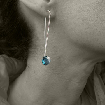 """London Blue Topaz solo Cutie pie"""" faceted coin cut on our signature handmade Argentium Sterling ear wire, just under 2"""" from top to bottom"""