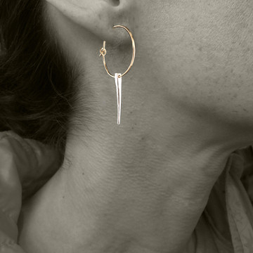 spike single on small hoop 14kt gold fill