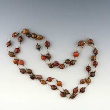 stepping stone - 9mm red agate nugget 36 inches