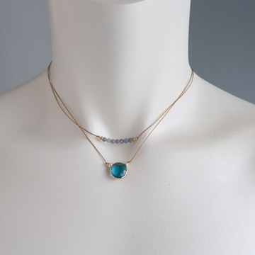 rustica coin ocean blue chalcedony vermeil