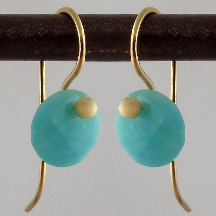 Faceted Amazonite on 18kt gold