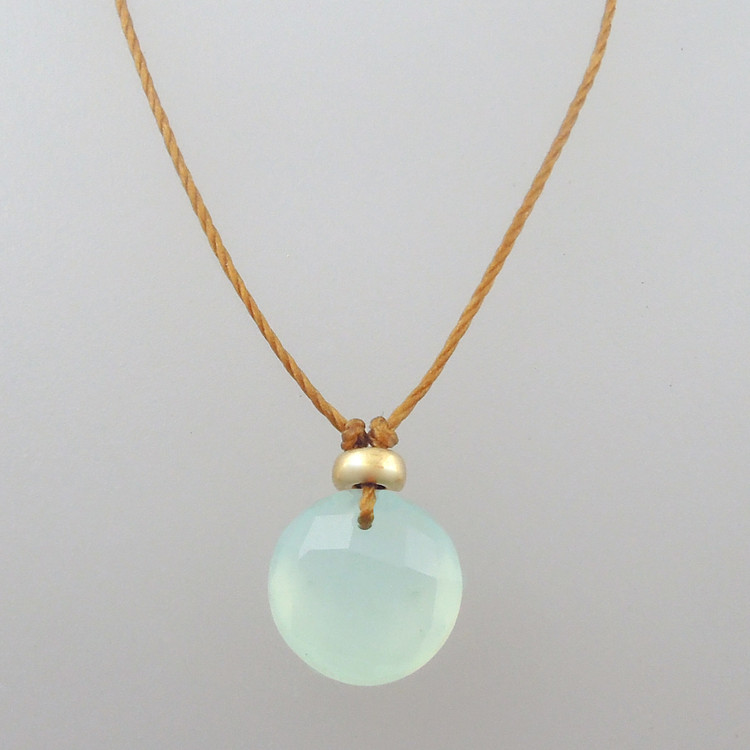 ocean green chalcedony with 14kt gold fill accent