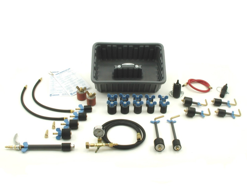 "This 32-piece kit is designed for testing pools with 1-1/2"" to 2"" lines."