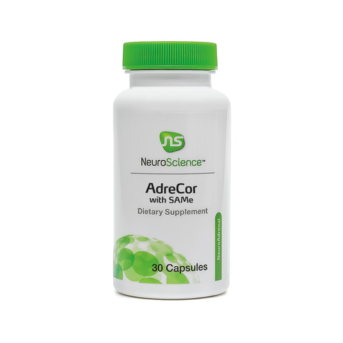 """NeuroScience   ---  """"AdreCor with SAMe"""" ---  Adrenal & Mood Support - 30 Caps"""