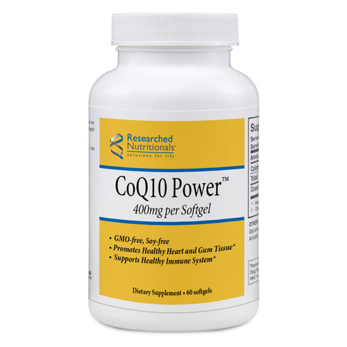 """Researched Nutritionals  ---  """"CoQ10 Power"""" -- 400 mg Highly Absorbed CoQ10 - 60 Softgels (GMO free)"""