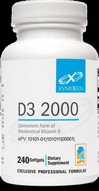"""Xymogen ---  """"D3 2000"""" ---  BioAvailable Vitamin D3 2000 IU - 120 or 240 softgels"""