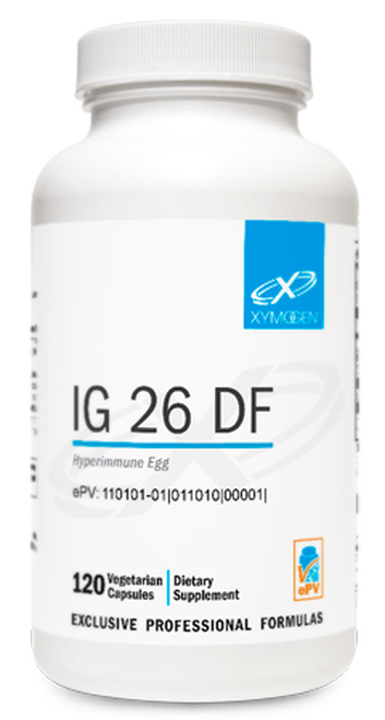 "Xymogen  ---  ""IG 26 DF"" ---  Egg Based Dairy Free Immunoglobulins For Dysbiosis  - 30 Servings Powder OR 120 Capsules"