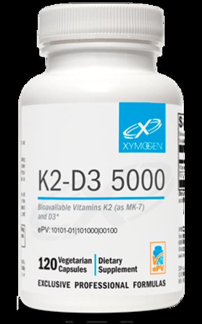 """Xymogen ---  """"K2-D3 5000"""" ---  BioAvailable Vitamin K & Vitamin D3  - 60 Or  120 Veggie Capsules"""