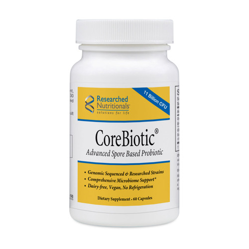 "Researched Nutritionals ---  ""CoreBiotic"" --- 11 Billion CFU Spore Based Prebiotic & Probiotic Support- 60 Veggie Caps"