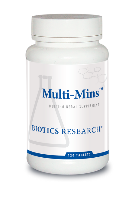 "BIOTICS  ---  ""MULTI-MINS™""  --- Potent Broad Spectrum Multi-Mineral With Iron & Copper  - 120 Tabs"