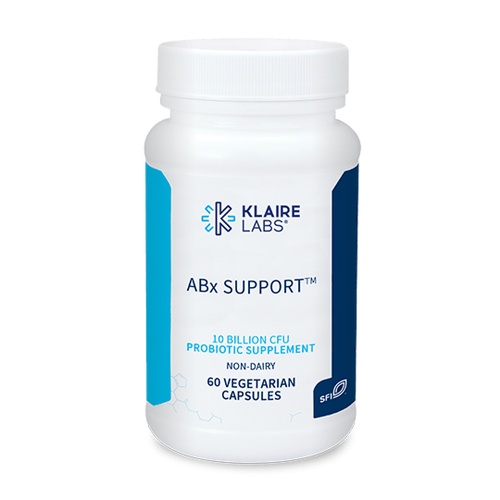 "KLAIRE   --- ""ABX SUPPORT™"" --- Small & Large Bowel Pre & Probiotic Support During & After Antibiotics - 60 Veggie Caps"