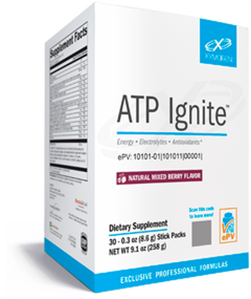 """Xymogen  ---   """"ATP Ignite™"""" ---  Mixed Berry  ---  On The Go Energy  - 30 Servings"""