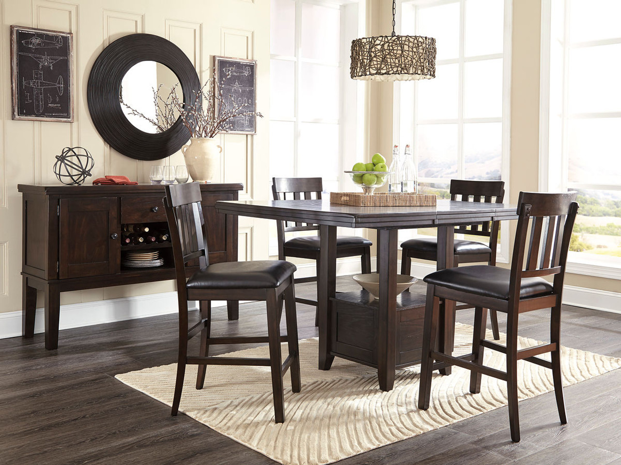 1c2261095037 Ashley Haddigan Dark Brown 6 Pc. Rectangular Dining Room Counter Extension  Table, 4 Upholstered