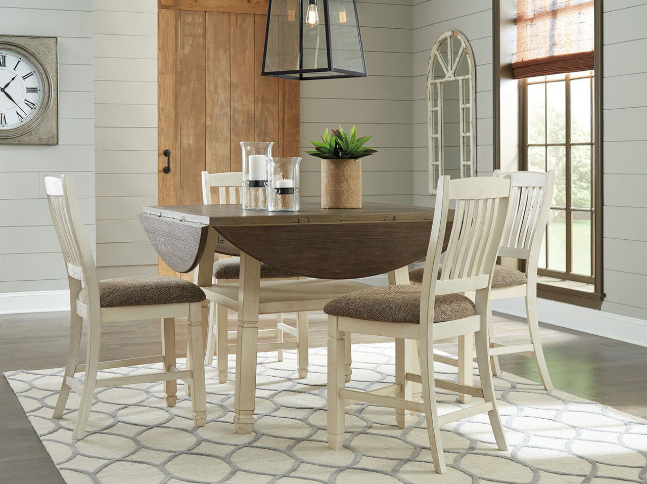 257c67e43a0d Ashley Bolanburg Two-tone 5 Pc. Round Drop Leaf Counter Table & 4  Upholstered