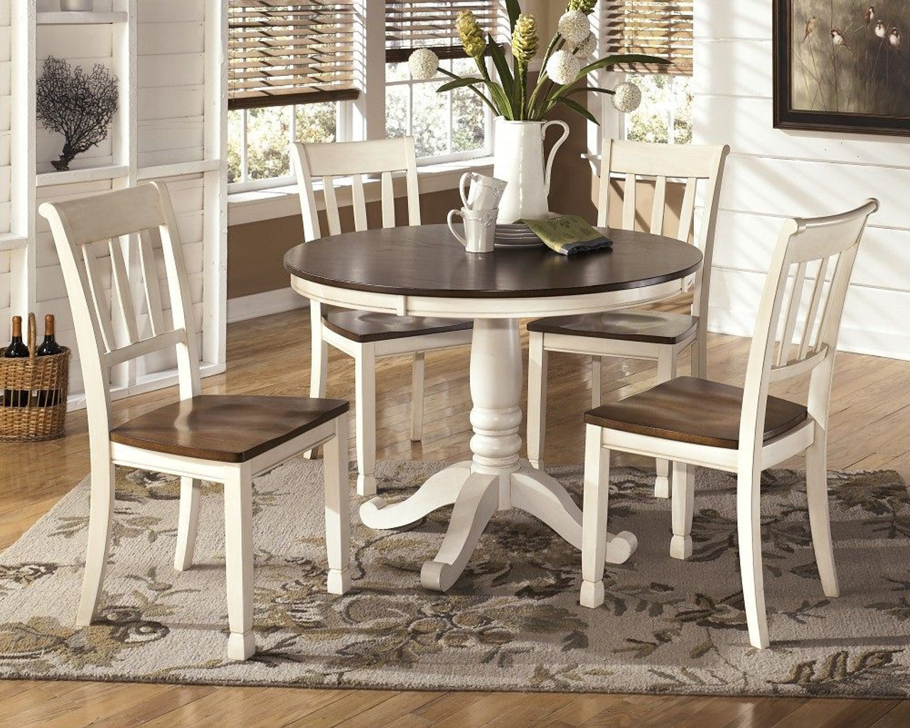Ashley Whitesburg Brown Cottage White 6 Pc Round Dining Table 4 Side Chairs On Sale At Lee Furniture Of Fayetteville Nc