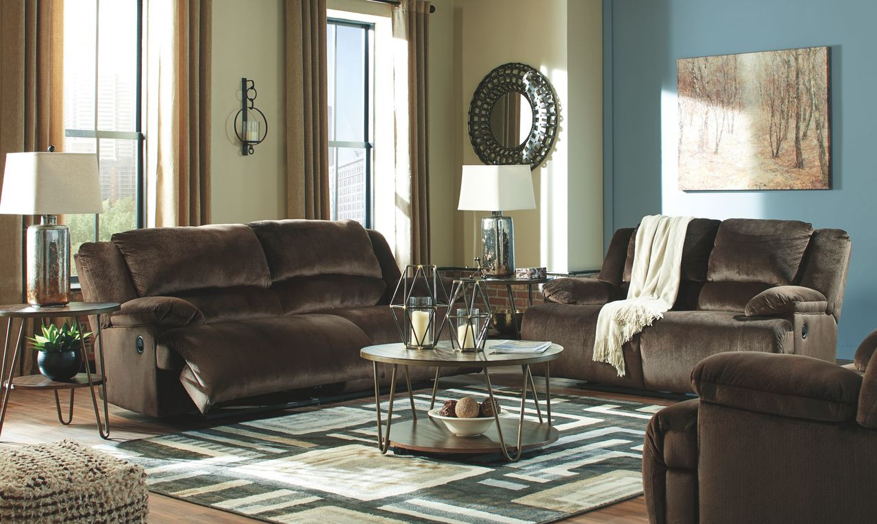 Miraculous Ashley Clonmel Chocolate Reclining Sofa Couch Reclining Loveseat Zero Wall Wide Seat Recliner Caraccident5 Cool Chair Designs And Ideas Caraccident5Info