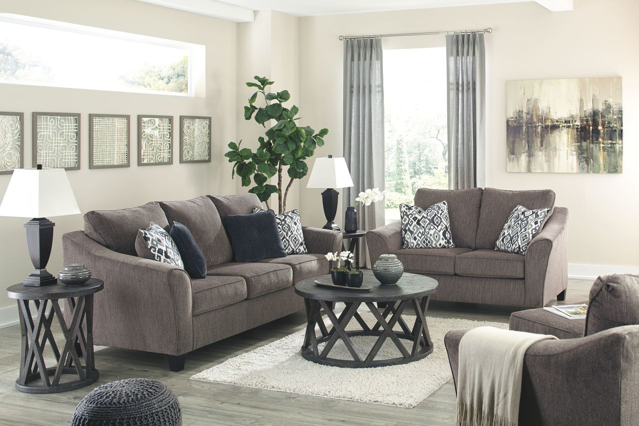 Ashley Nemoli Slate Sofa Couch Loveseat Chair And A Half Ottoman Sharzane Cocktail Table 2 End Tables On Sale At Lee Furniture Of Fayetteville Nc