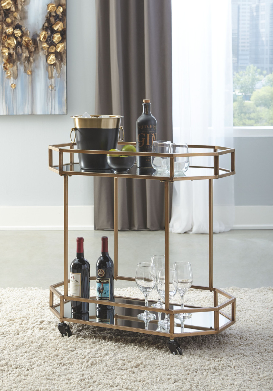 Ashley Daymont Gold Finish Bar Cart On Sale At Lee Furniture Of Fayetteville Nc