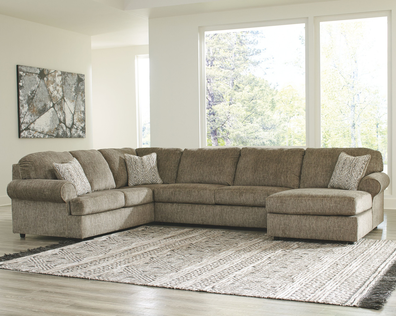 Ashley Hoylake Chocolate 3 Pc Sectional With Chaise On Sale At Lee Furniture Of Fayetteville Nc