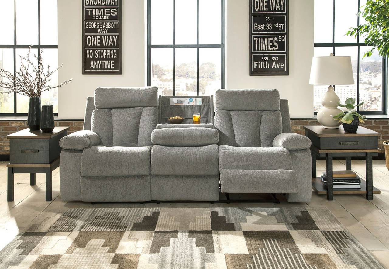 Ashley Mitchiner Fog Reclining Sofa With Drop Down Table On Sale At