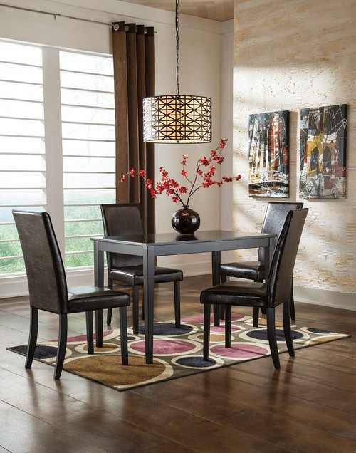 Exceptionnel Ashley Kimonte Dark Brown 5 Pc. Rectangular Dining Table U0026 4 Upholstered  Side Chairs