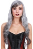 Curly black and grey wig, curly witch wig