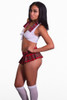 Shop this women's sexy naughty school girl costume with mini skirt and white crop top
