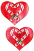 Candy cane heart nipple pasties
