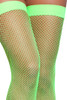 Banded Neon Green Fishnet Thigh Highs