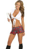 Shop women's 2 Piece Red Plaid School Girl costume. Includes Tie Top & Pleated Skirt