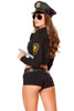 Shop women's Roma sexy Police officer costume with police hat, hand cuffs, shorts belt, and baton.
