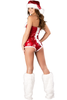 Shop this women's red sequin holiday romper with white fur trim detail.