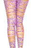 Neon Pink Tattered Leopard Print Footless Tights